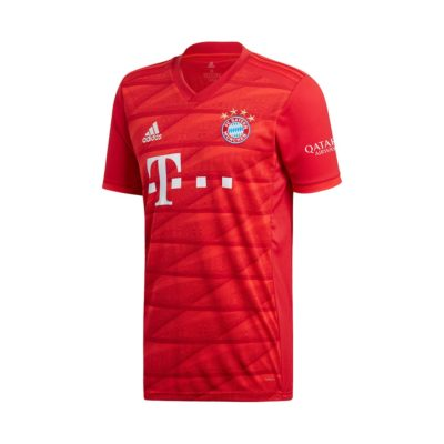 A picture of Bayern Munich home jersey for 2019/2020 season. Rep your favourite club in their new jersey now!